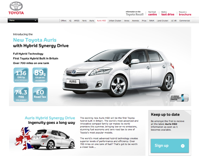 Auris HSD now live on Toyota.co.uk