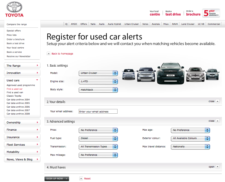 Toyota Approved Used Email Alerts
