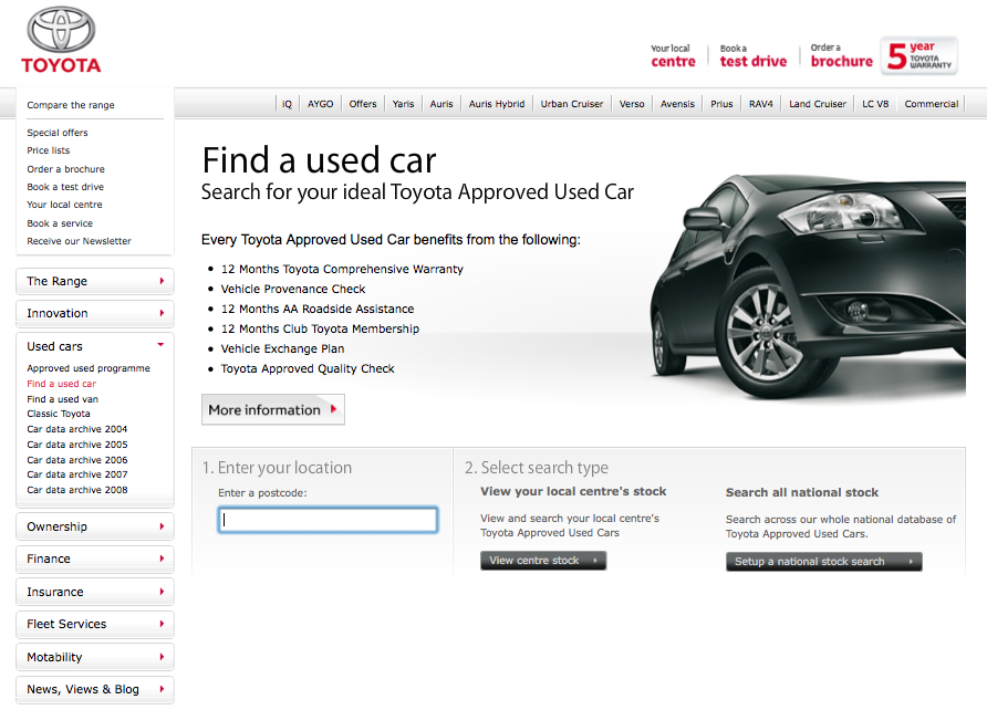 Toyota Approved Used Search