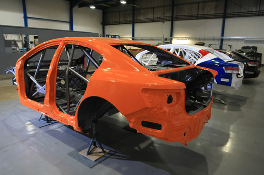 BTCC Avensis racers in the GPR Motorsport workshop