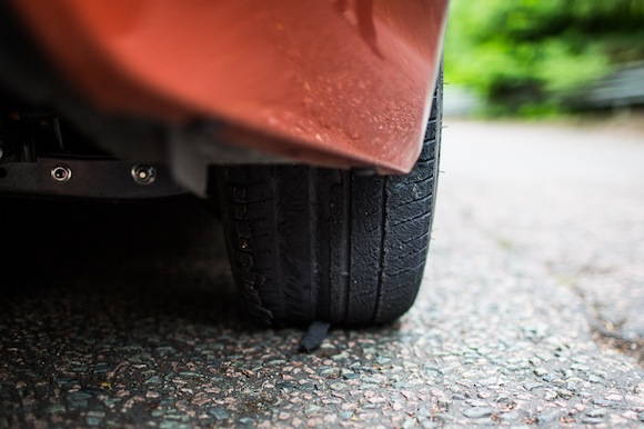Toyota GT86 tyre after drifting