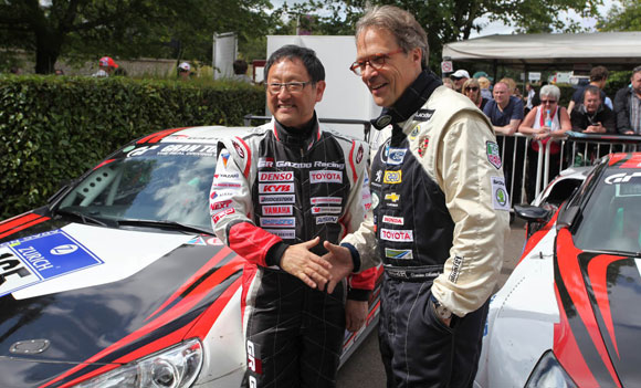Akio Toyoda and Lord March at Goodwood Festival of Speed