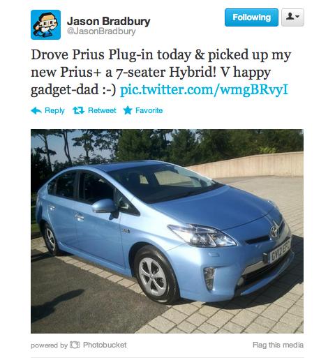 Jason Bradbury Toyota Prius Plug-in tweet