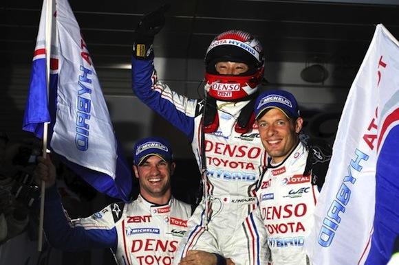 Alex Wurz, Kazuki Nakajima and Nicholas Lapierre celebrate Fuji win