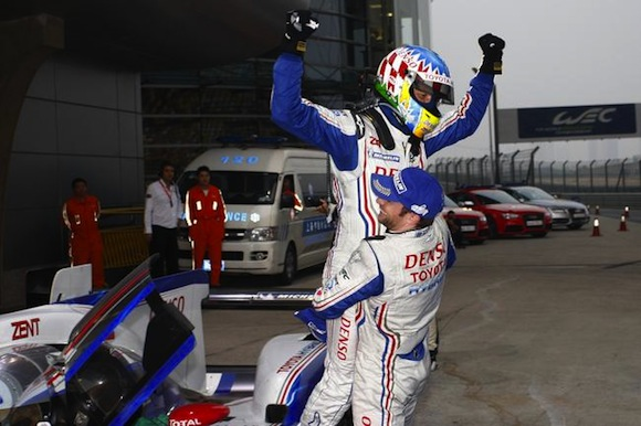 Nicolas Lapierre and Alex Wurz celebrate Shanghai win
