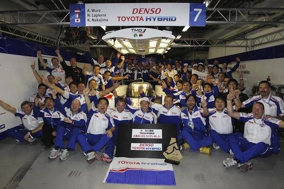 Team Toyota Hybrid Racing celebrates Fuji win
