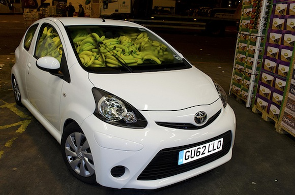 Aygo filled with bananas