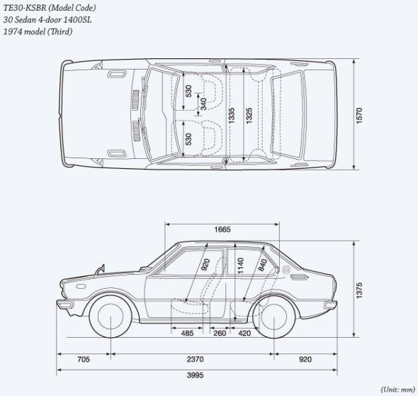 Toyota Corolla 3rd gen line drawing