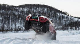 Snow driving in a Toyota Hilux