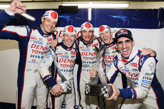 Anthony Davidson (second from left) with his Toyota WEC teammates