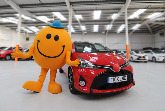 Mr Tickle and the ticklish Toyota Yaris for Red Nose Day