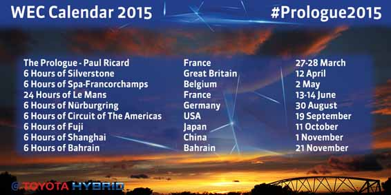 #Prologue2015 - 2015 WEC Calendar