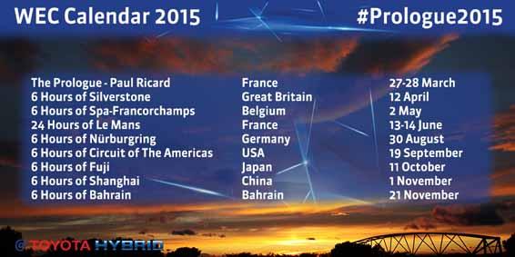 #Prologue2015 - 2015 WEC Calendar