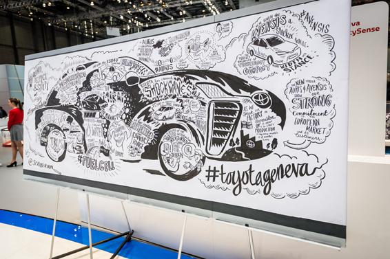 Toyota artwork on Geneva motor show stand