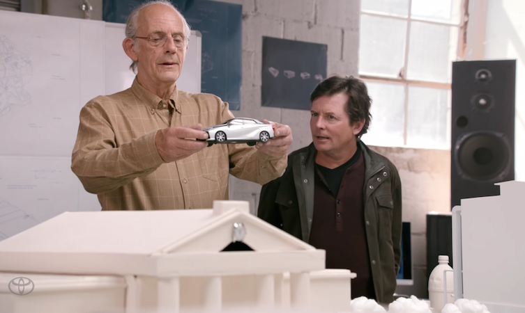 Michael J. Fox and Christopher Lloyd with Toyota Mirai