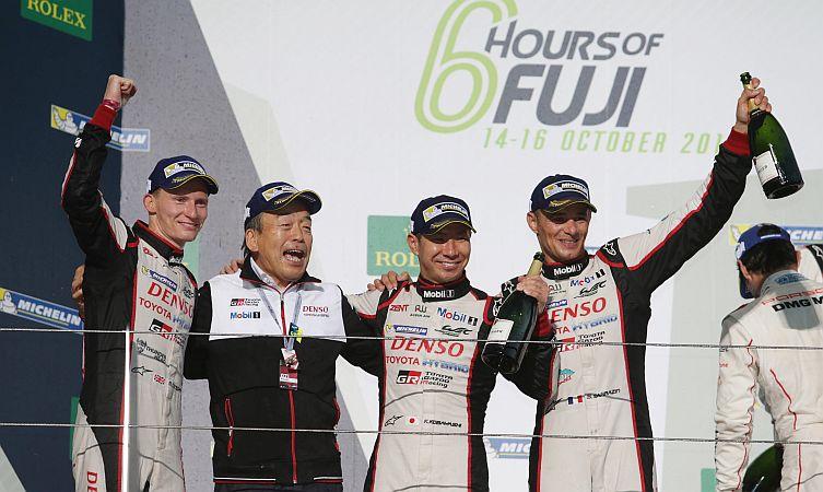 Kamui Kobayashi (JPN) Mike Conway (GBR) and Stephane Sarrazin (FRA) Toyota Racing TS050 World Endurance Championship. 6 Hours of Fuji Fuji Speedway, Japan 13th-16th October 2016