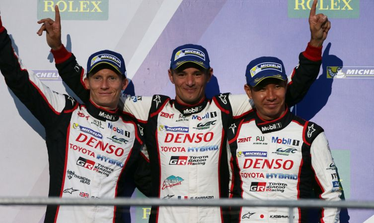 Stephane Sarrazin (FRA) , Mike Conway (GBR) and Kamui Kobayashi (JPN) on the podium Toyota Racing TS050 World Endurance Championship. 6 Hours of Mexico Autodromo Hermanos Rodriguez 1st-3rd September 2016