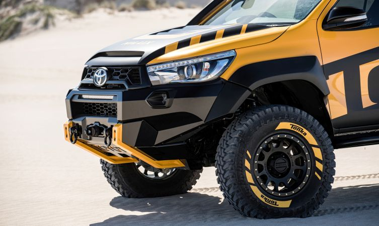 Toyota malawi meet the hilux tonka concept high performance off road led light bar roof vents tubular rock rails carbon fibre vented tailgate with integrated spoiler removable tubular load mozeypictures Gallery