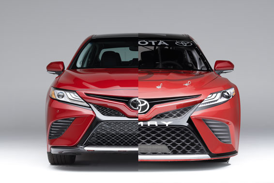 2018 standard Camry (left) and 2018 NASCAR Camry (right)