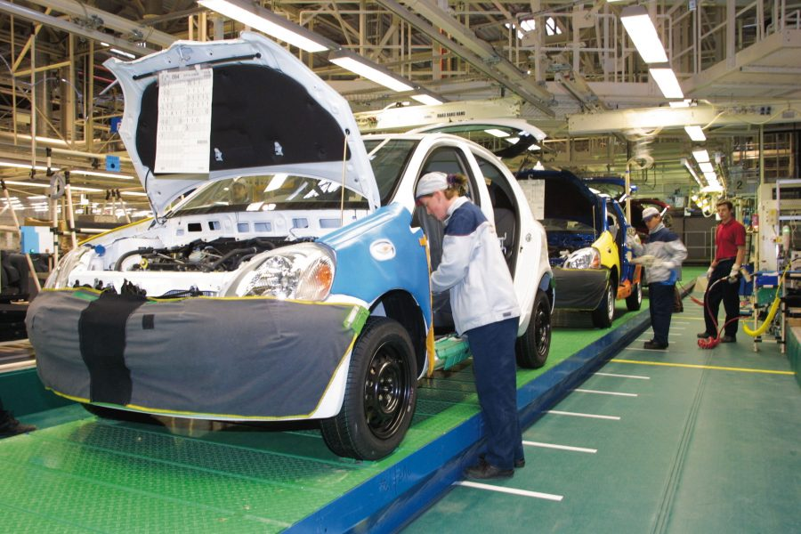 First-generation Toyota Yaris on the production line