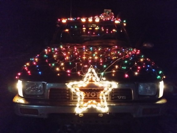 Old Toyota truck Christmas