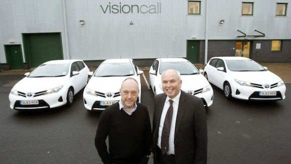 Brian McGuire, Visioncall Group Managing Director & Tom Graham, Business Centre Manager SDM Toyota.