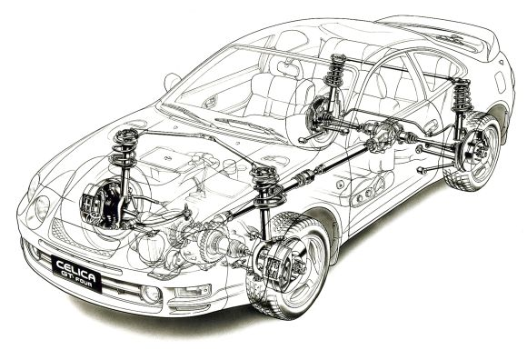 Toyota Celica GT-Four 1995 Technical Drawing HiRes