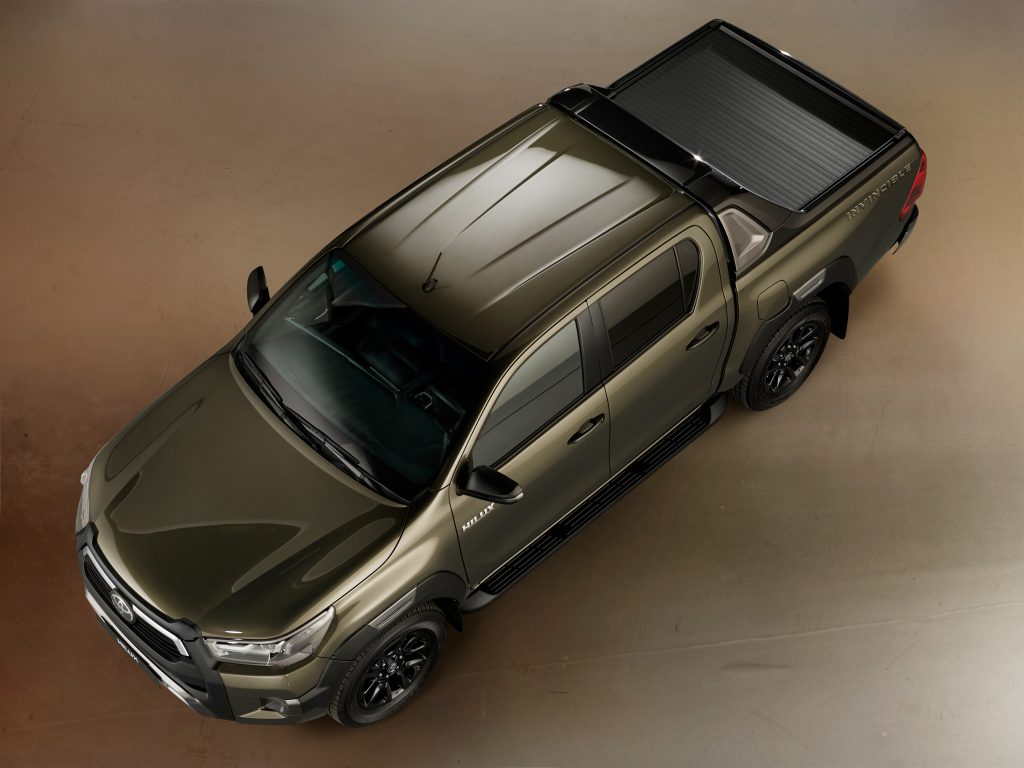 2021 Toyota Hilux Invincible in Titan Bronze - viewed from above, with electric roll deck