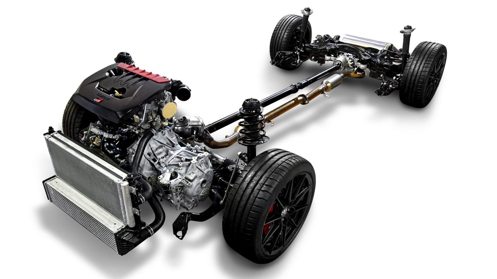 Technical picture of the Toyota GR-Four all-wheel drive system from the GR Yaris