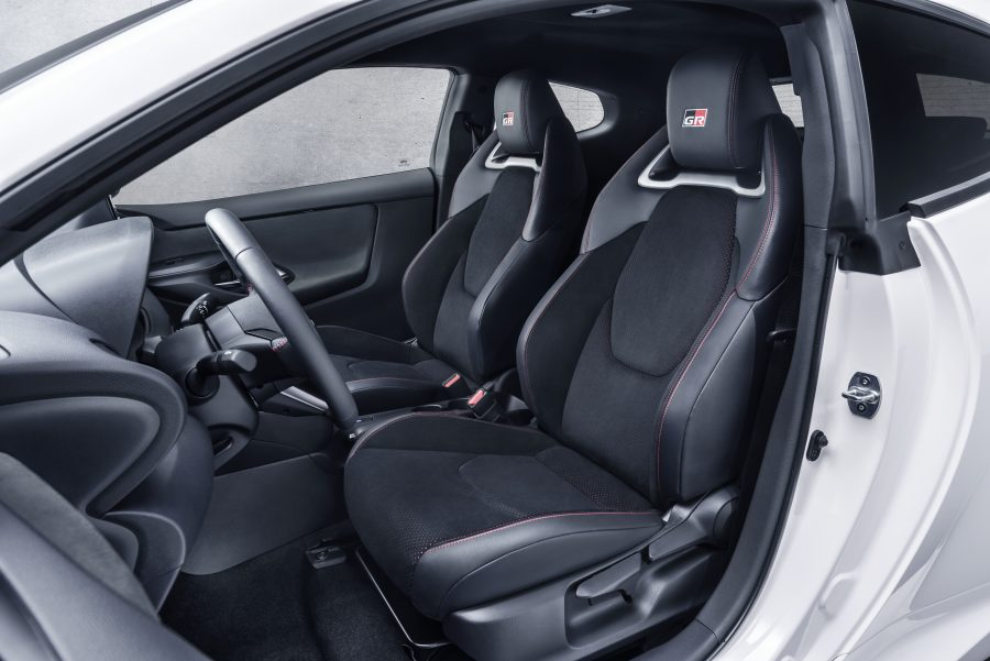 GR Ultrasuede front sports seats in the Toyota GR Yaris