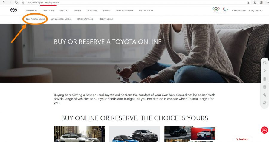 Buy a new Toyota online